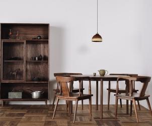 榆木圆餐桌